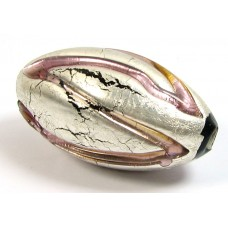 1 Murano Glass White Gold Foiled Amethyst Oval Focal Bead