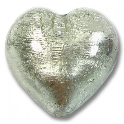 1 Murano Glass Black Diamond  Silver Foiled 28mm Heart