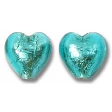 Pair Murano Glass Verde Marino Silver Foiled 10mm Hearts