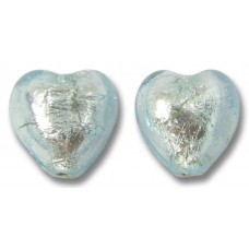 Pair Murano Glass Aquamarine Silverfoil 10mm Hearts