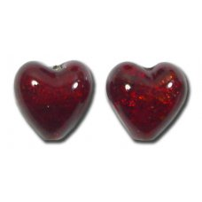 Pair Murano Glass Dark Ruby Gold Foiled 10mm Heart Beads