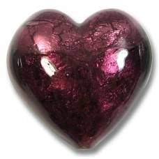 1 Murano Glass 28mm Silver Foil Amethyst Heart