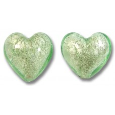 2 Murano Glass Verde Smeraldo Chiarissimo White Goldfoiled 14mm Hearts