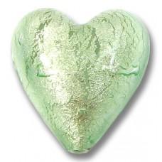 1 Murano Glass Verde Smeraldo Chiarissimo White Goldfoiled 20mm Heart