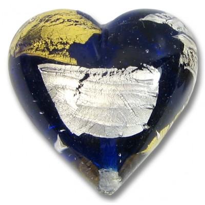 1 Murano Glass Midnight Treasure 30mm Heart