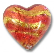 1 Murano Glass Rose Goldfoil 18mm Heart