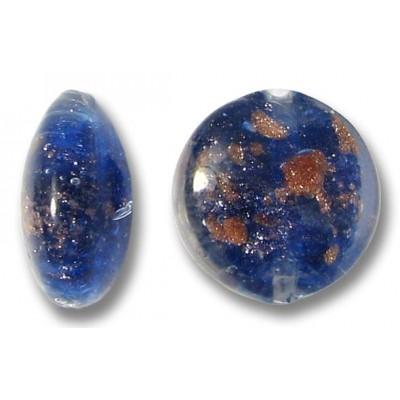 1 Murano Glass Cobalt Aventurine 12mm Lentil