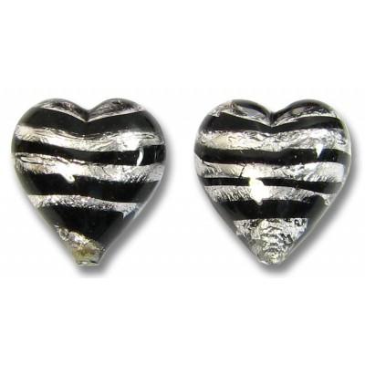 2 Murano Glass Spiral Black Silver Foil 12mm Heart Beads