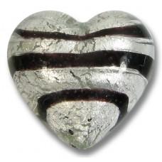 1 Murano Glass Spiral Black Silver Foil 20mm Heart Bead
