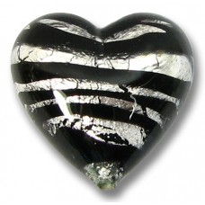 1 Murano Glass Spiral Black Silver Foil 18mm Heart Bead