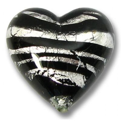 1 Murano Glass Spiral Black Silver Foil 18mm Heart Bead
