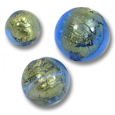 1 Murano Bluino Goldfoil Round 14mm Bead