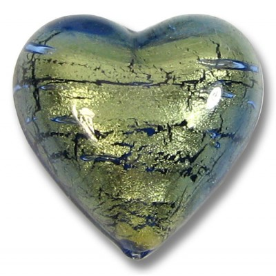 1 Murano Glass Bluino Goldfoil 18mm Heart Bead