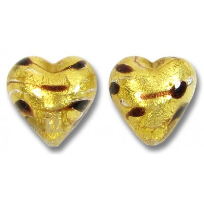 2 Murano Glass Gold Foiled Lacrima 12mm Heart Beads