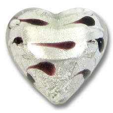 1 Murano Glass Silver Foiled Lacrima 18mm Heart Bead