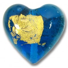 1 Murano Glass Aquamarine Goldfoil 20mm Heart bead