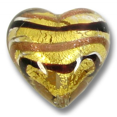 1 Murano Glass Humbug Goldfoil 18mm heart