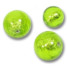 10 Murano Glass Light Erba (Lime) Silverfoil 10mm Round Beads