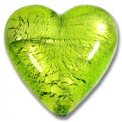 1 Murano Glass Light Erba (Lime) Silverfoil 35mm Heart Bead