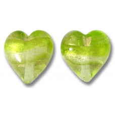 2 Murano Glass Light Erba (Lime) Gold Foiled Band 12mm Heart Beads