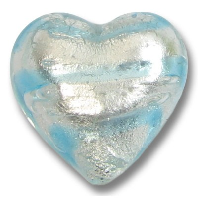 1 Murano Glass Aquamarine Striped Silverfoil 18mm Heart