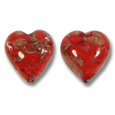 2 Murano Glass Red Aventurine 12mm Heart Beads