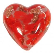 1 Murano Glass Red Aventurine 18mm Heart Bead