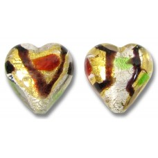 2 Murano Glass Gold and Silver Foil Harlequin 12mm Heart Beads