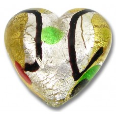1 Murano Glass Gold and Silver Foil Harlequin 30mm Heart Bead