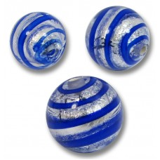 10 Murano Glass Sapphire Spiral Silverfoil 10mm Round Beads