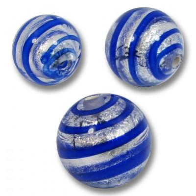 10 Murano Glass Sapphire Spiral Silverfoil 8mm Round Beads