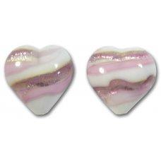 Pair 12mm Murano Glass Rose Blush Hearts