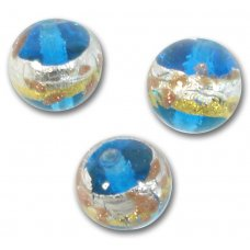 1 Murano Glass Aqua Treasure 10mm Round Bead