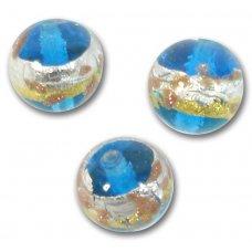 1 Murano Glass Aqua Treasure 10mm Round Bead