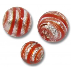 10 Murano Glass Red Spiral Silverfoil 10mm Round Beads