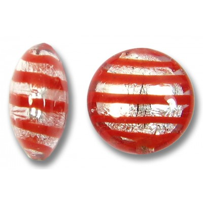 1 Murano Glass Red Spiral Silverfoil 12mm Lentil Bead