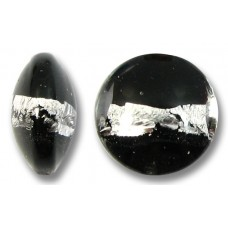 1 Murano Glass Black Silverfoil Stripe 12mm Lentil Bead