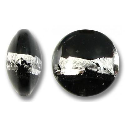 1 Murano Glass Black Silverfoil Stripe 12mm Lentil Bead