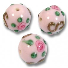 1 Murano Glass Rose ExRosa 10mm Round Bead