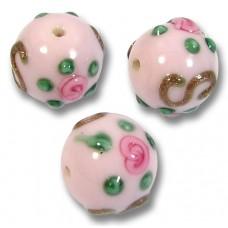 1 Murano Glass Rose ExRosa 10mm Round Bead