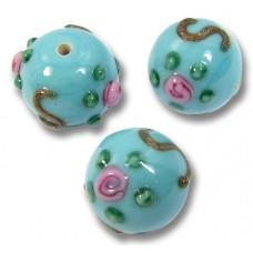 1 Murano Glass Turquoise ExRosa 10mm Round Bead