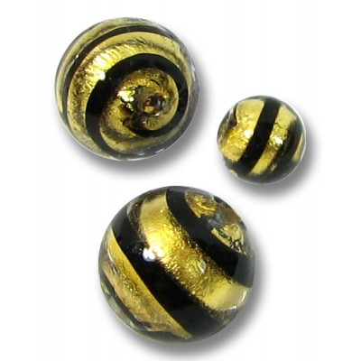 1 Murano Glass Black Spiral Goldfoil Round 6mm Bead