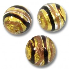 1 Murano Glass Humbug Goldfoil Round 10mm Bead