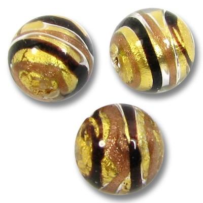 1 Murano Glass Humbug Goldfoil Round 10mm Bead