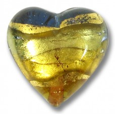 1 Murano Glass Goldfoil Topaz and Sapphire GoldFoiled 18mm Heart Bead