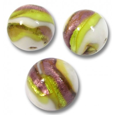 1 Murano Glass 10mm Berries and Lime Round Bead
