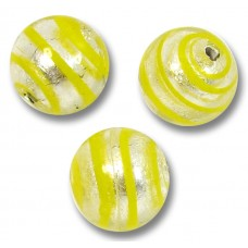 10 Murano Glass Spiral Yellow Silverfoil 10mm Round beads