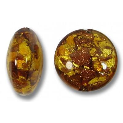1 Murano Glass Dark Topaz & Aventurine Goldfoil 12mm  Lentil Bead