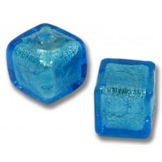 Pair 8mm Murano Glass Dark Aquamarine White Gold Foiled Cube Beads