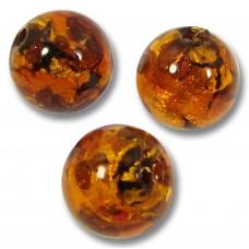 10 Murano Glass Dark Topaz Goldfoil 10mm Round Beads